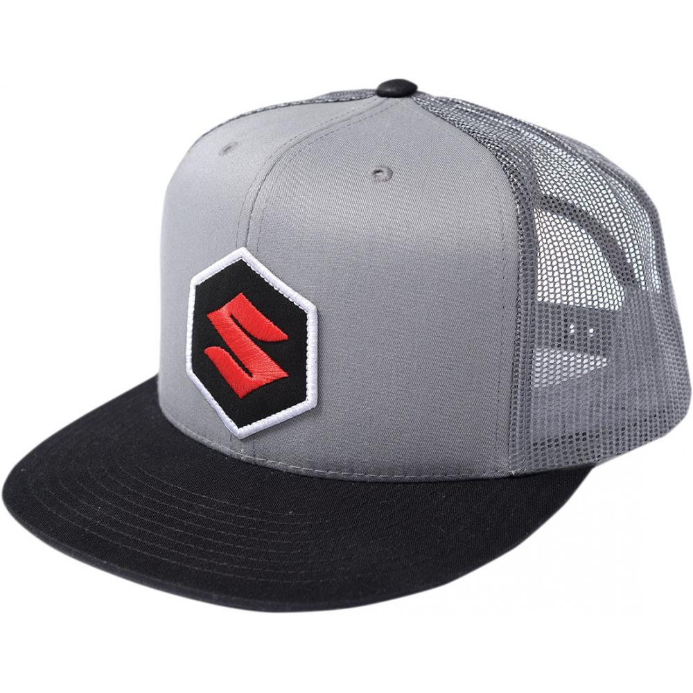 L//XL Factory Effex Team Suzuki Flat Bill Flexfit Hat Black // Blue