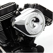 S&S Cycle Chrome Stealth Teardrop Air Cleaner Kit for 2008-'16 Touring and '16-'17 Softail Models Includes 170-0301B, CARB EO# D-355-24 170-0301B