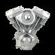 S&S Engine, Assembled, V124, Super G, Super Stock Ignition, Notched Flywheel, Natural, Chrome Billet, 4-1/8″ 1984-'99 bt 31-9860