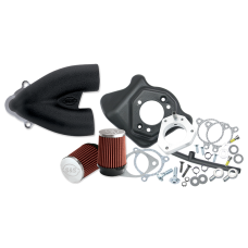 S&S Single Bore Tuned Induction Kit for 2008-'16 HD Touring Stock-Bore Throttle By Wire and 2016-17 Softail (except Tri-Glide & CVO) Models - Black 170-0309B