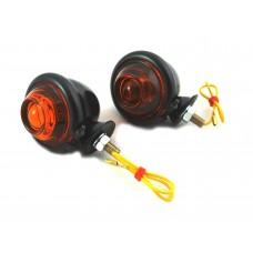 Black Turn Signal Set Bullet with Amber Lens 33-1125