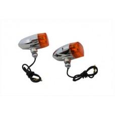 Chrome Snake Eye Marker Lamp Set Amber 33-2131