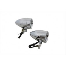 Chrome Torpedo Marker Lamp Set with Clear Lens 33-0580