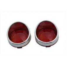 Chrome Turn Signal Bezel Red Lens 33-1272