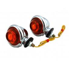 Chrome Turn Signal Set Bullet with Amber Lens 33-1124