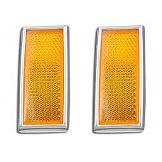 Front Amber Reflector Set With Chrome Frame 33-0033
