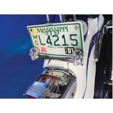License Plate Frame Skull Krommet Set Chrome with Red LEDS 33-0857